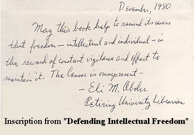 Inscription from Defending Intellectual Freedom