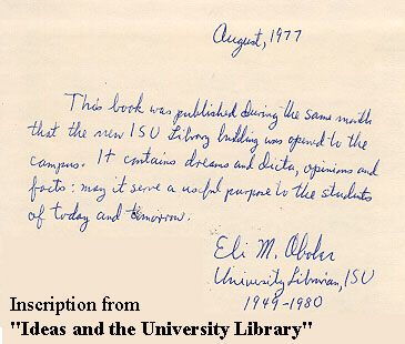 Inscription from Ideas and the University Library