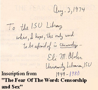Inscription from The Fear of the Word: Censorship and Sex